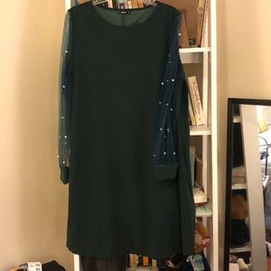 Emerald green, long sleeve dress, knee length